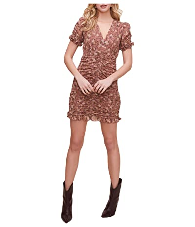 ASTR the Label Short Sleeve Shirred Front Mini Dress (Taupe Multi Floral) Women