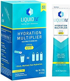 Liquid I.V. Hydration Multiplier, Electrolyte Drink Mix - Lemon-Lime Citrus Flavor; Deliver Hydration to Your Bloodstream Faster and More Efficiently Than Water Alone (Lemon Lime, 96 Count)