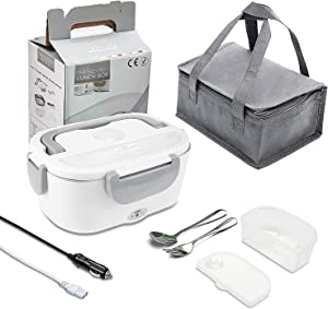 POXU Electric Lunch Box,12V & 110V 2 in 1 Portable Food Warmer Heating for Car Home Office School,Food-Grade Removable 304 Stainless Steel Container and Insulated Lunch Bag,Leak proof