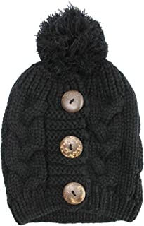 Luxury Divas Cable Knit Slouchy Beanie Hat with Button Trim