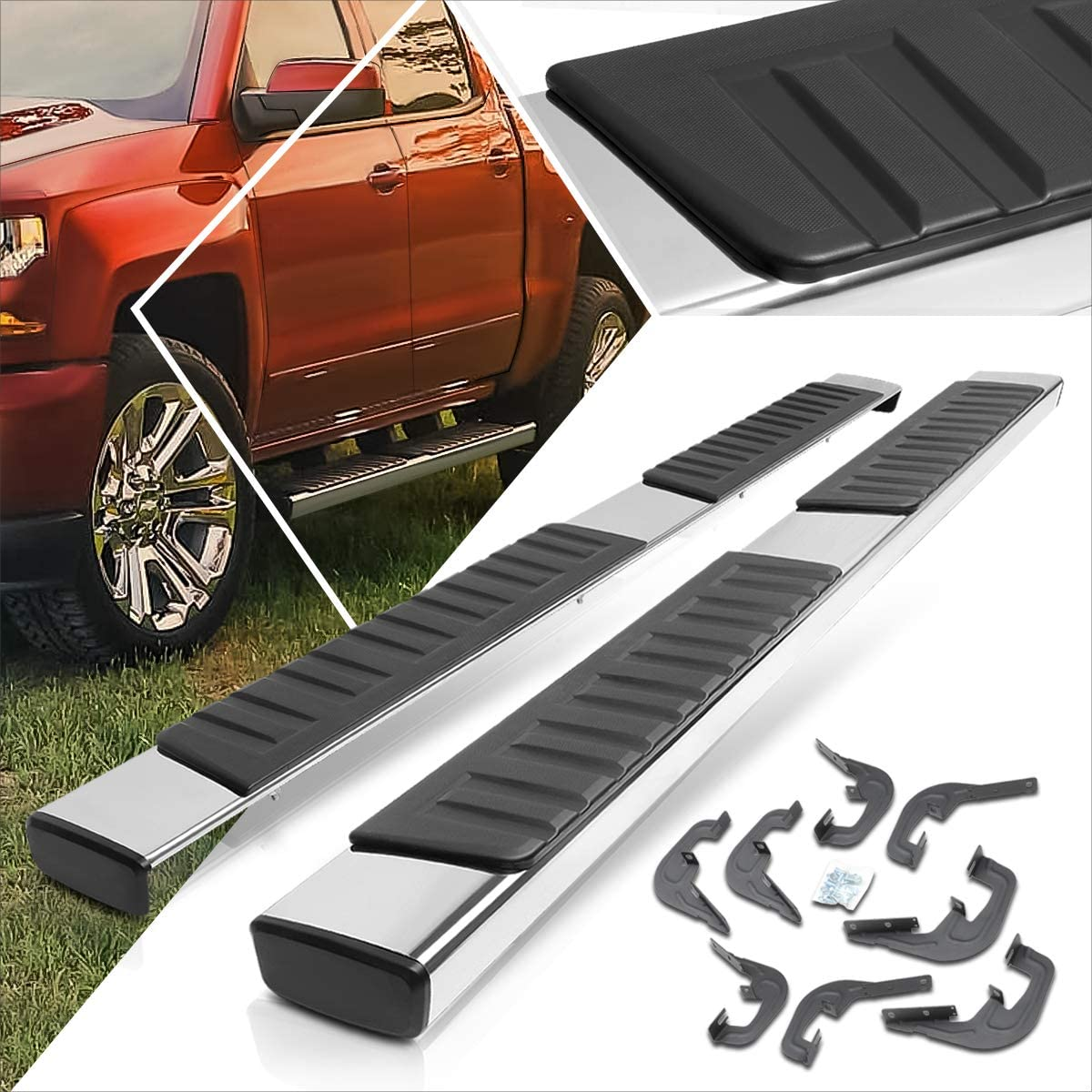 2Pcs 6 Inch Chrome Running Max 87% OFF Max 61% OFF Boards wi Side Bars Step Compatible