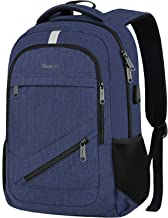 Business Laptop Backpack, RFID Travel Backpack Computer Bag for Men Women, Slim Water Resistant Anti Theft School Bookbag with USB Charging Port for Boys Girls Fit 15.6 in Laptop & MacBook(Navy Blue)