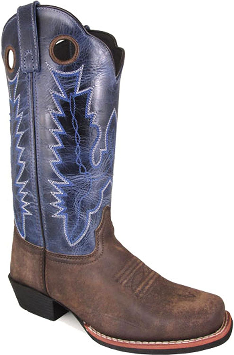 Smoky Mountain Women's Mesa Square Toe Pull On Brown Oil Distressed Navy Crackle Boots