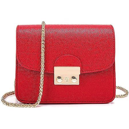 Honeymall Kleine Damentasche Umhängetasche Citytasche Schultertasche Handtasche Elegant Retro Vintage Tasche Kette Band(Rot)