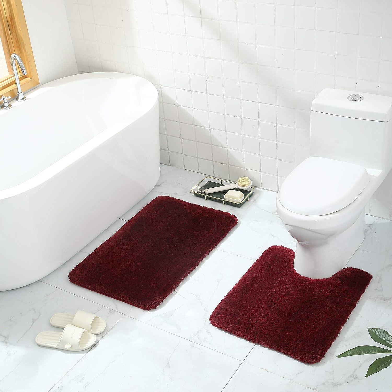 "17/""x24/""+20/""x32/"", Beige Buganda Microfiber Bathroom Rugs Set 2 Pieces Non-Slip Machine Wash//Dry Absorbent Shower Bathroom Rugs and Mats Sets for Bathroom Shaggy Soft Thick Bath Mat"
