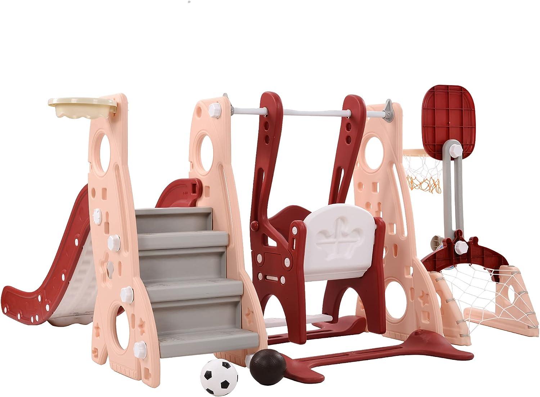Toddler Slide  Swing Basketball Combo Set Adjustable Swing Heig
