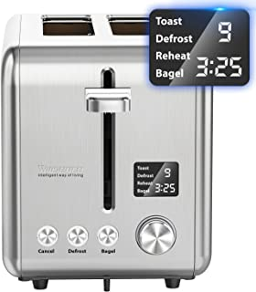Toaster 2 Slice, Willsence Stainless Steel Bagel Toaster with Extra Wide Slots, LCD Display with 9 Bread Shade Settings and 6 Pre-set Programs (Defrost/Reheat/Cancel/Timer), Removable Crumb Tray, 900W