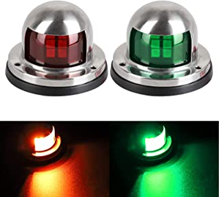 Linkstyle 2Pcs Bow Lights for Boats 12v Marine LED Boat Navigation Lights[Red & Green LED], Waterproof Boat Bow Light Bow and Stern for Pontoon Yacht Skeeter Sailing Lights[Stainless Steel Shell]