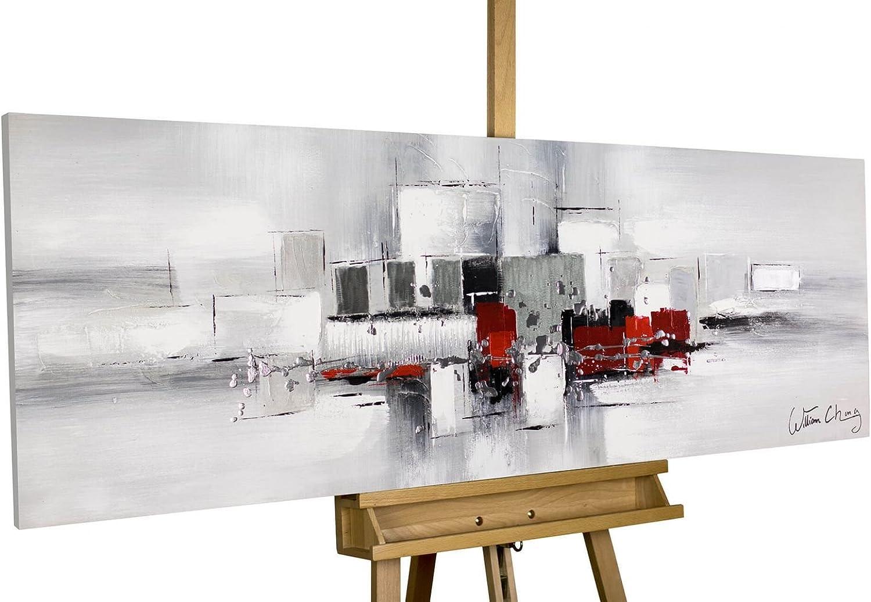 KunstLoft® Acryl-Gemälde 'Umringt von von von Nebel' 150x50cm   original handgemalte Leinwand Bilder XXL   Abstrakt Rot Weiß Grau   Wandbild Acrylbild moderne Kunst einteilig mit Rahmen B01M639OA4 18ec5d
