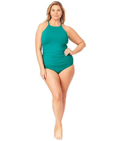 Anne Cole Plus Size Convertible Shirred High-Low Bottoms