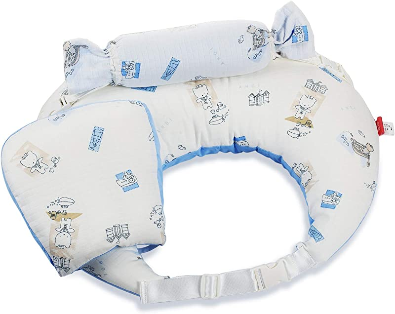 ABEICO Nursing Pillow With Guardrail Deluxe Baby Infant U Breastfeeding Pillows Washable Cover Made Of 100 Cotton With 2 In1 Pillow Blanket And Strap Blue 24X19inch
