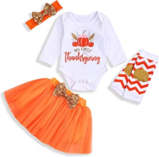 My First Christmas Outfits Baby Girl Long Sleeve Romper+Baby Sister Tutu Skirt+Striped Leg Warmers+Bow Headband