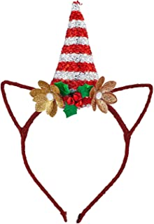 Lux Accessories Red Glittery Cat Ears Holiday Hat Gold Glitters Floral Headband