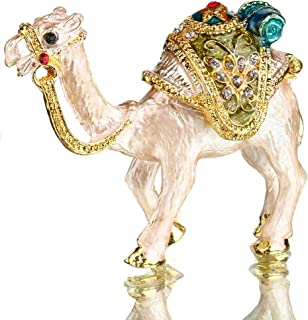 Tiny Cute Camel Figurine Collectible,Hinged Crystal Jeweled Animal Trinket Jewelry Box,Desert Camel Decor Ornament,Camel Lover Gift