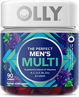 OLLY Men's Multivitamin Gummy, Vitamins A, C, D, E, B, Lycopene, Zinc, Adult Chewable Supplement, Blackberry Flavor, 45 Da...