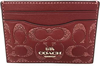 Coach Card Case Wallet in Glitter Signature Leather Packaged in a Coach Gift Box F88494