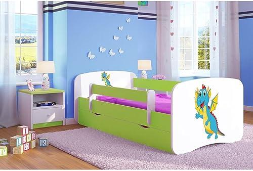 CARELLIA Cama Cama Cama Infantil Dragon de 80 x 180 cm con Barrera de Seguridad + somier + cajones + colchón de Regalo. - verde limón.  en stock
