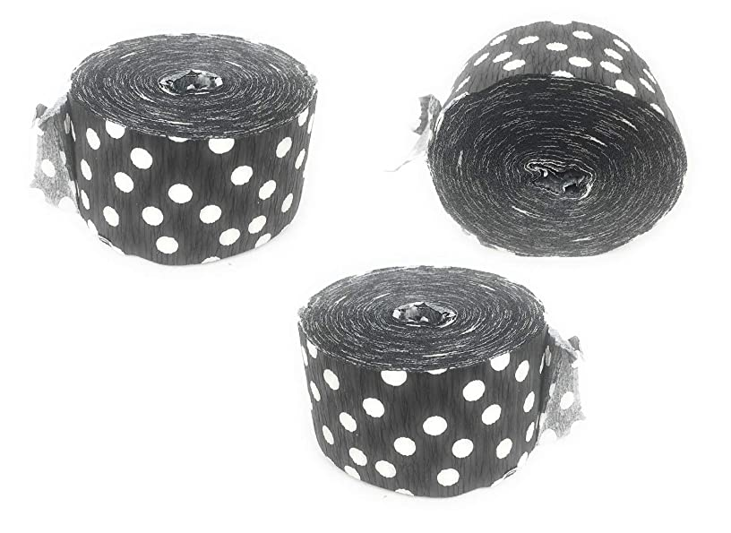 Crepe Paper Streamers for Birthday Party Wedding School Celebrations Decorations (Black and White Polka Dot, 3 Rolls)