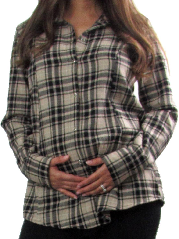 Embrace Your Bump Grandpa Genson Tan Plaid Flannel Shirt
