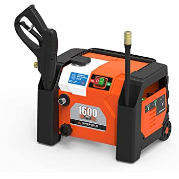 YARD FORCE YF1600A1 1600 Psi Compact Electric Pressure Washer, 1.2 GPM, Built-in Storage, One Size, Orange/Black