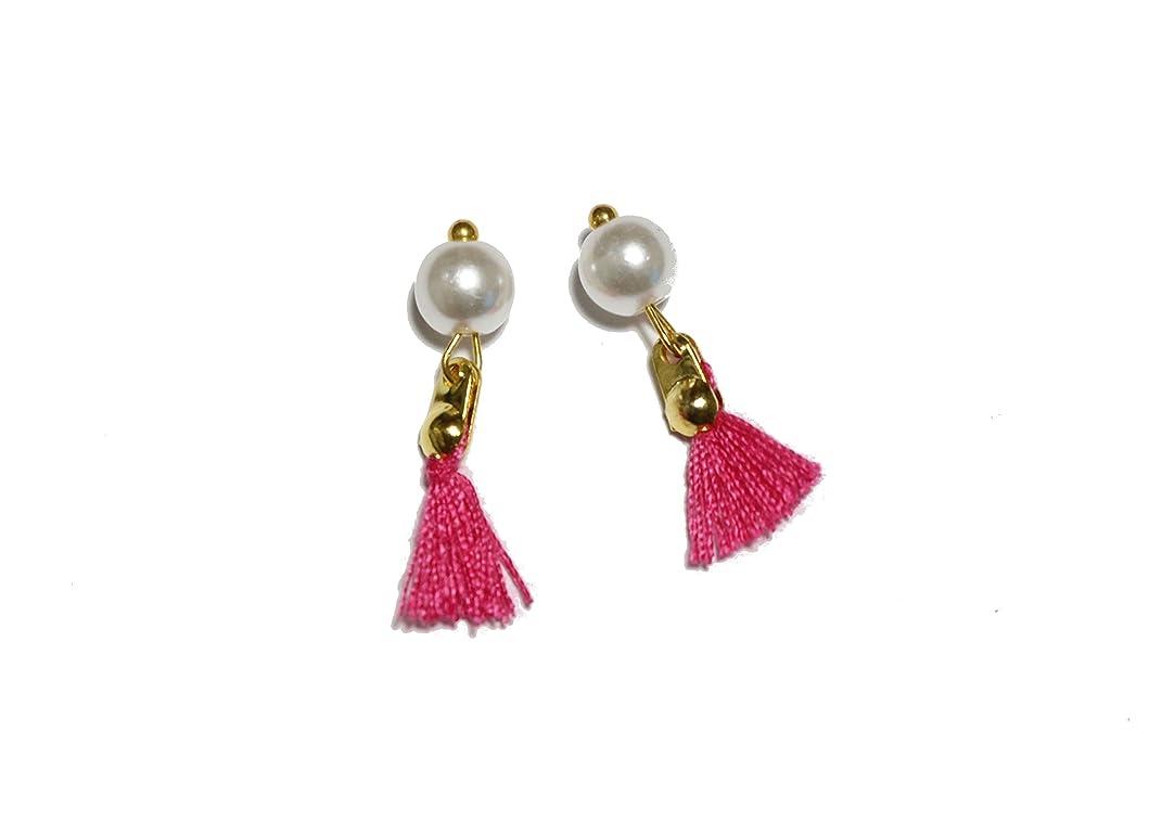 富豪定刻ソビエト【jewel】パール付き タッセルジュエリーパーツ 2個 7色から選択可能 ラインストーン (ピンク)