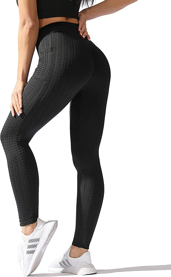 Women's Ruched Butt Lifting Leggings Workout Running Yoga Leggings with Pockets Tommy Control Sports Tights Honeycomb High Waist Gym Leggings