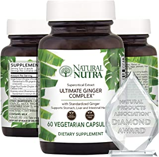 Natural Nutra Ultimate Ginger Supplement, Root and Supercritical Extract Pills, 10% Standardized Gingerols for Nausea, Sto...