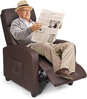 COSTWAY Relaxsessel mit verstellbaren Rückenlehne und Fußteil, Fernsehsessel..
