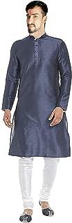 Lakkar Haveli Men's Silk Kurta Indian Tunic Ethnic Grey Color Shirt Plus Size