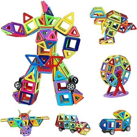 Magnetische Bausteine 109tlg Mini Magnetic Bauklötze Baukasten Kinder   Tolles Geschenk Lernspielzeug für Kinder ab 3 Jahre   Perfekt für den Einsatz zu Hause, in Schulen, Kindertagesstätten