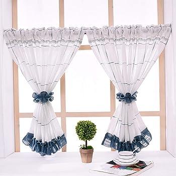 Yujiao Mao - Visillo de lino con alzapaños (1 unidad), algodón mezcla, Blau mit Gestickte Ranken, BxH 90x90cm: Amazon.es: Hogar