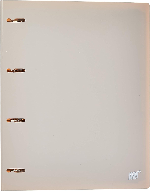 Fichário 4 Argolas A4, YES, R4EABCBG, Tons Pastel, com 96 Folhas e 5 Divisórias, Bege