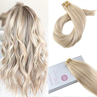 Moresoo 20 Inch Invisible Tape in Extensions Adhesive Hair Extensions Color #18 Ash Blonde Highlighted with #613 Blonde Full Head Set Skin Weft Tape in Hair Extensions 100g/40pcs