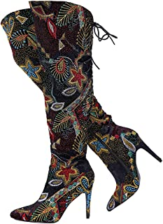 Stupmary Winter Women Boots Ethnic Over The Knee High Embroidery Print Stilleo Heels Pointed Toe Thigh Bootie