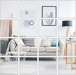 Resinta 36 Pieces Flexible Mirror Sheets Non Glass Mirror Self Adhesive Tiles Mirror Wall Stickers for Home Decoration, 6 x 6 Inches (36)