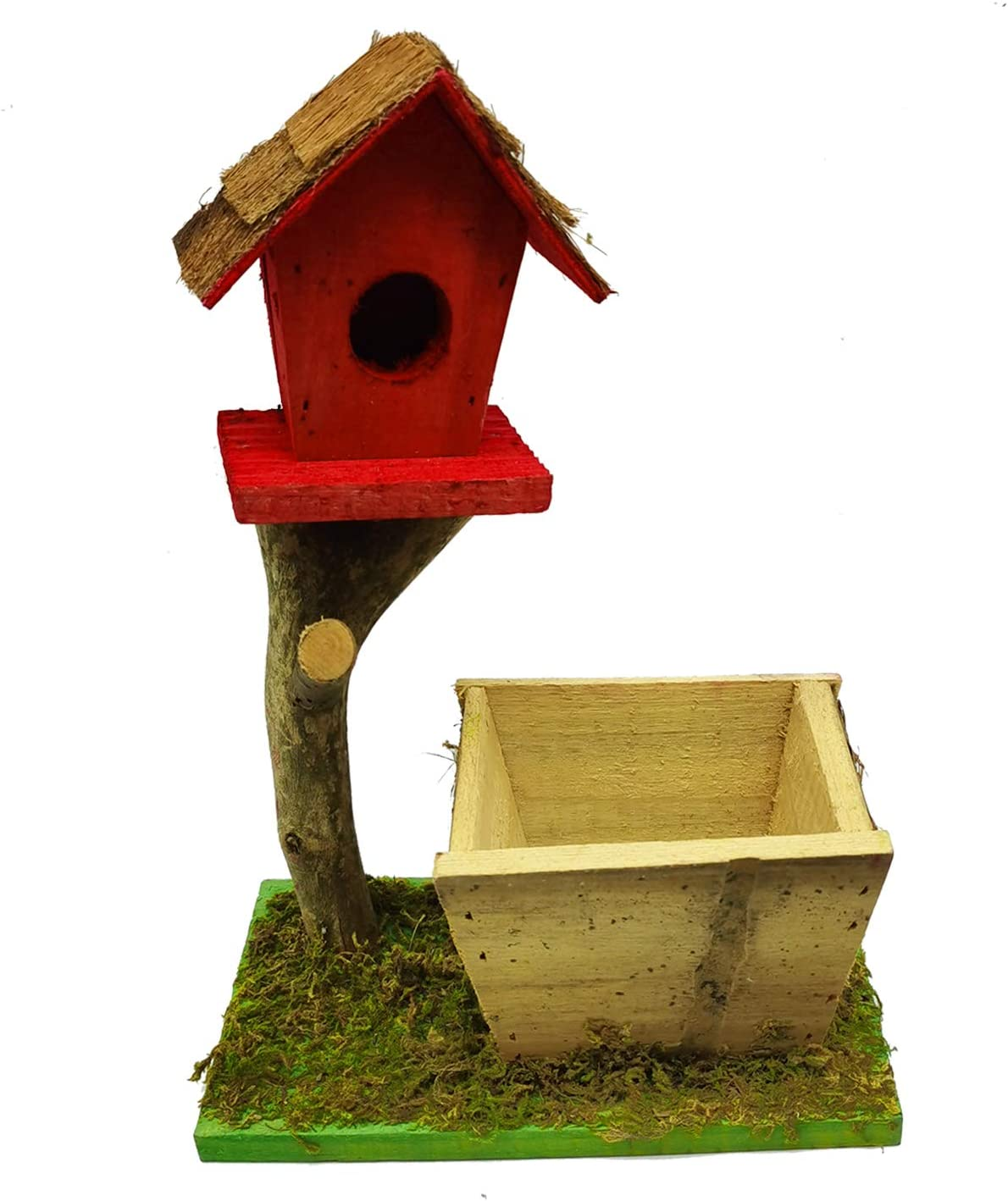 Hamiledyi Wooden Bird House Natural Wood Cash special price Ba High material Birdhouse Decorative