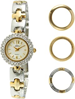 Pierre Jacquard Women's Two-Tone Crystal Watch with Bracelet and 4 Interchangeable Bezels Gift Set