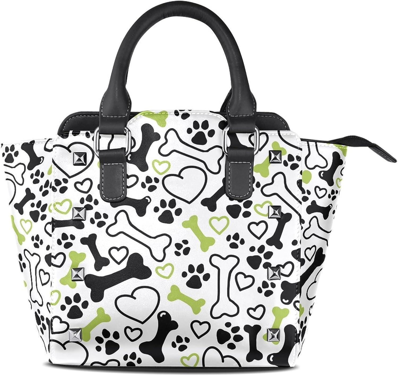 My Little Nest Women's Top Handle Satchel Handbag Dog Paw Ladies PU Leather Shoulder Bag Crossbody Bag