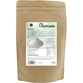 Michel´Naturprodukte Glucosaminsulfat Pulver 500g -reines Glucosamin-Vegan-Aus pflanzlicher Fermentation-Glucosamine-Premium Qualität