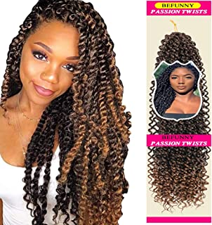 6 Packs Passion Twist Hair Water Wave Curly Crochet Hair Short Ombre Black To Honey Blonde Bohemian Hair For Passion Twist Braiding Hair Synthetic Passion Crochet Braids Hair Extensions(14