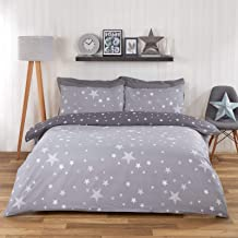 Reversible 100/% Cotton Stars Grey Printed Duvet Cover and Pillowcase size single