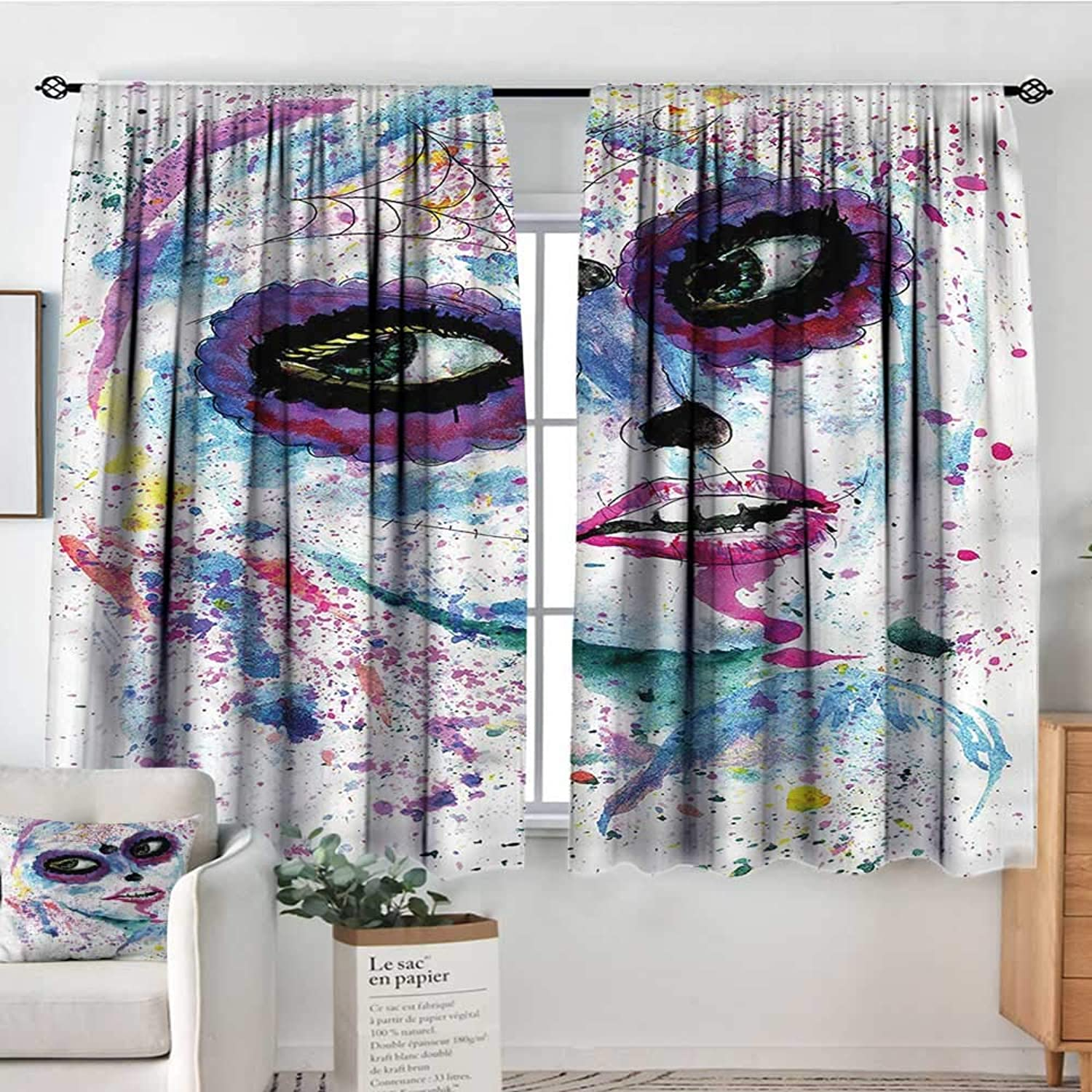 Girls,Boy's Iving Room Curtain Halloween Lady Make Up 42 X63  Indo Treatments for Short Indo