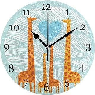 Söt giraff familjemönster väggklocka tyst icke-tickande 25 cm rund klocka akryl konstmålning hem kontor skoldekor