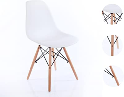 Creation Yusheng Set of 4 Dining Chair with Natural Eiffel Base Wooden Leg Modern Plastic Dining Side Chair, White