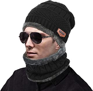 MUCO Womens Mens Winter Hat Warm Thick Beanie Cap Scarf for Winter Knit Ski Beanies