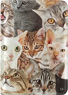 MASSIKOA Many Cats Pattern Leather Passport Holder Cover Travel Wallet Case for Men Women