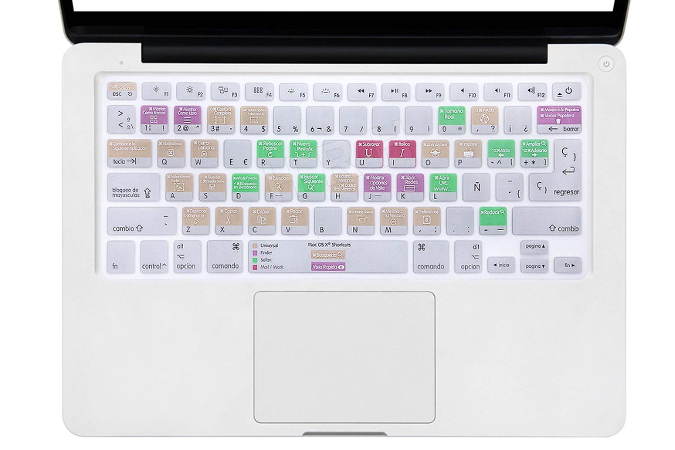 Funda Compatible con Teclado A1278 para Mac OS X España Compatible con MacBook Pro Air Retina 13