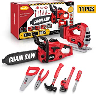 iBaseToy 11PCS Kids Tool Set for Boys, Kids Construction Toys Power Tools with Toy Chainsaw , Pretend Play Tools Set with Jig Saw Toys for 3 4 5 Year Old Toddlers Boys