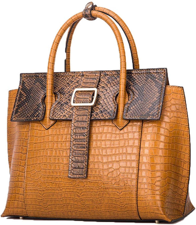 044c69bebf3dd damen Echtes Leder Handtaschen Elegante Krokodil Textur Textur Textur  Gro szlig e Kapazit auml t Top Handtaschen Schultertasche Gelb B07LFC6KK9  592335