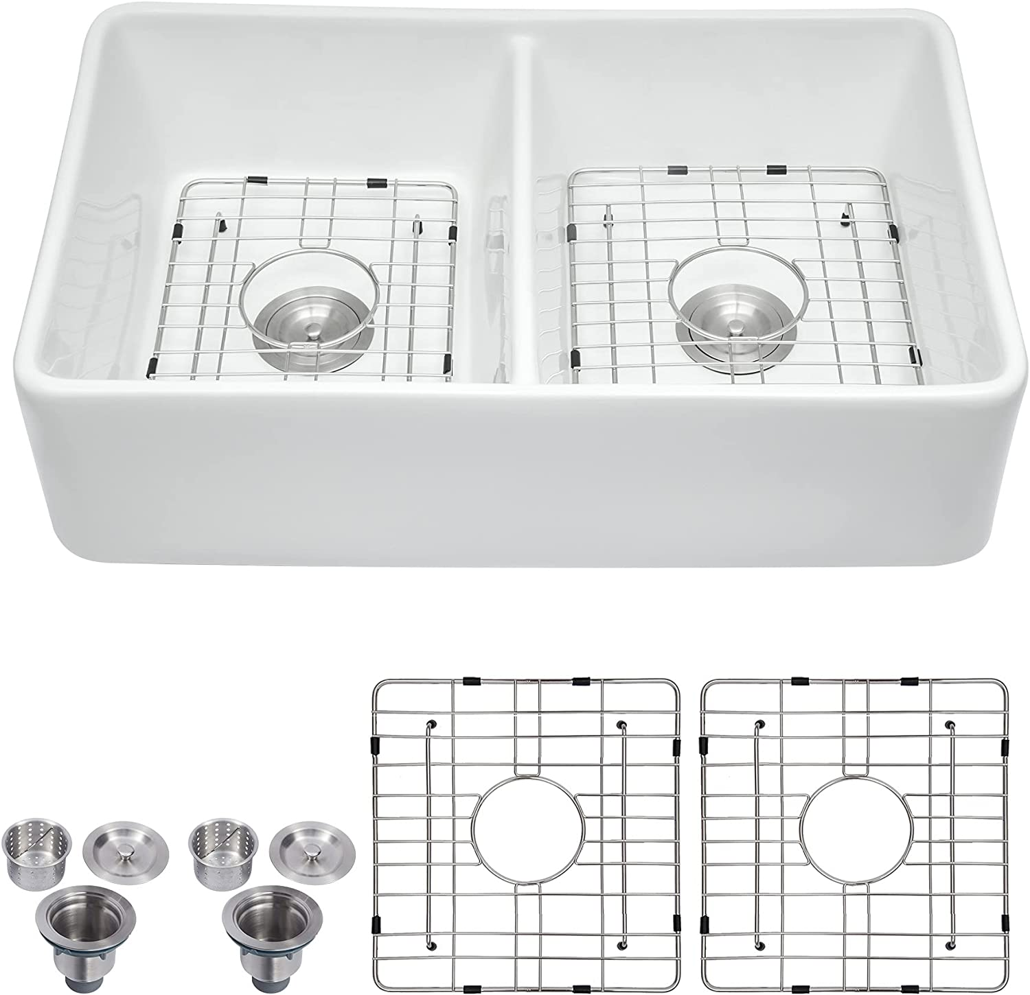 White Farmhouse specialty shop Sink - Logmey 32 Attention brand Farm Bowl Apro Double Inch